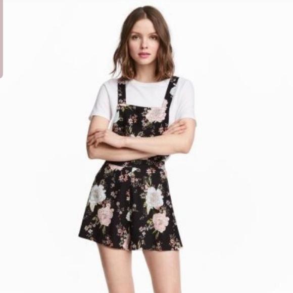 H&M Pants - H&M overalls romper black floral jumper